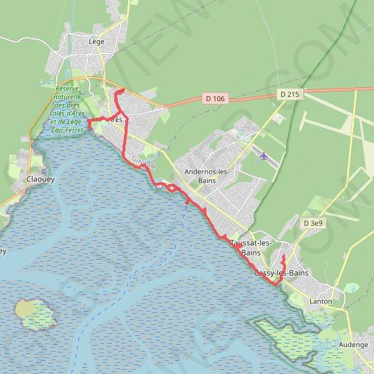 Trace Gps Tour Du Bassin D Arcachon A Pied Jour 5 Itineraire